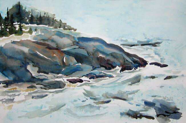 """Christmas Cove, Monhegan ""WC on Arches 140# HP20x14 unmatted, unframedAVAILABLE FOR YOUR COLLECTION"