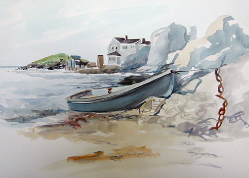 """High Tide, Monhegan ""WC on Arches 140# HP20x14 unmatted, unframedAVAILABLE FOR YOUR COLLECTION"