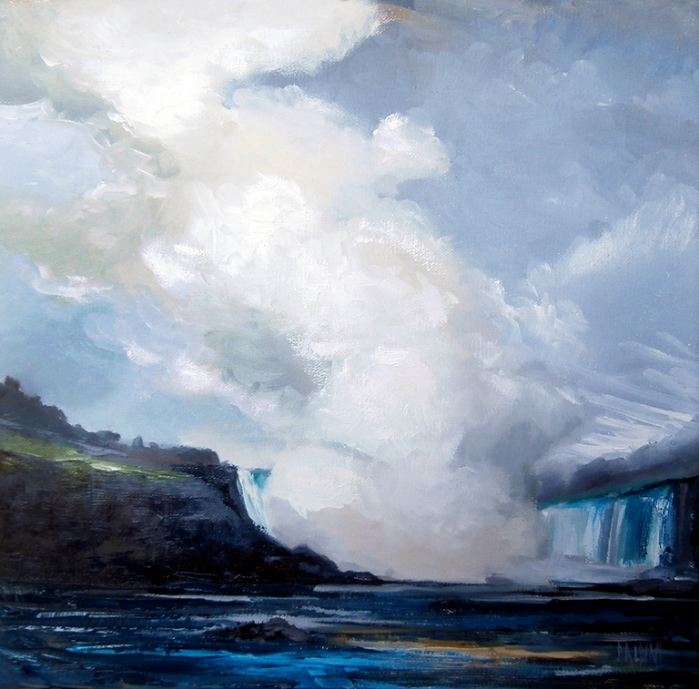 """Overcast Day at Niagara Falls""12 x 12 Oil on LinenPainted in Niagara Falls, Canada"