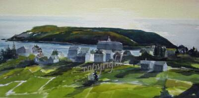 """Village, Monhegan ""WC on Arches 300# ROUGHunmatted, unframedAVAILABLE FOR YOUR COLLECTION"