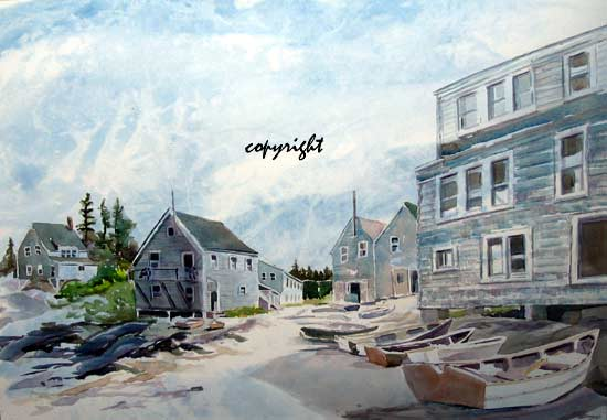 """Fishbeach, Monhegan ""WC on Arches 140# HP20x14 unmatted, unframedAVAILABLE FOR YOUR COLLECTION"