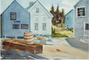 """Monhegan, Fish Beach""WC on Arches #140 hot press20x14 unmatted, unframedAVAILABLE FOR YOUR COLLECTION"