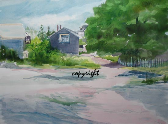 """Monhegan- Main St.""watercolor 18x24 Arches #140 HP24""x18"" unframed, unmattedAVAILABLE FOR YOUR COLLECTION"
