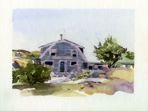 """Old Monhegan Store""watercolor artboard 9x7  image size 8x11 board size unframed-unmattedAVAILABLE FOR YOUR COLLECTION"