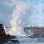 "J. R. Baldini ___  "" NIAGARA FALLS IN JUNE  "" ___   8 x 8    Oil on canvas"