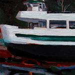 "J. R. Baldini ___ "" DRY DOCKED "" ___ 6"" x 6"" oil on canvas"