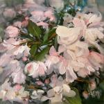 "J. R. Baldini ___ "" CRAB APPLE BLOSSOMS  "" ___ 6x6 Oil ___ Sold"