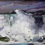 "J. R. Baldini ___ "" NIAGARA SQUALL "" ___ 6 x 8 oil on canvas ___ Sold"