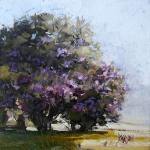 "J. R. Baldini __ "" CENTENNIAL LILACS  "" __ 6x6 Oil ___ on deep museum wrap__ Sold"