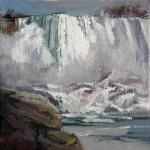 "J. R. Baldini ___ "" NIAGARA NOVEMBER "" ___   8 x 8 Oil on canvas"