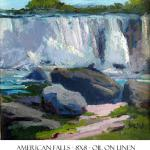 "J.R.Baldini ___ "" AMERICAN FALLS "" ___ 8 x 8 Oil on linen ___ published in American Artist magazine"