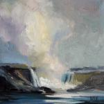 "J. R. Baldini ___  "" NIAGARA MIST OCTOBER "" ___    8 x 8 Oil on canvas"