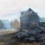 "J.R.Baldini ___ "" MONHEGAN FISH BEACH "" ___ 20 x 24 Oil on canvas ___"