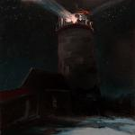 "J.R.Baldini ___ "" NIGHT LIGHT "" ___ 8 x 8 Oil on canvas ___"