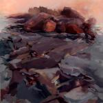 "J. R. Baldini ___ "" LOBSTER COVE "" ___ Monhegan MAINE ___ 22x28  ___ oil on canvas"