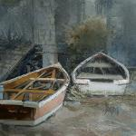 "J. R. Baldini ___ "" SKIFFS "" ___ 8 x 8 oil on canvas ____ Sold"