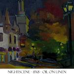 "J.R.Baldini ___ "" QUEBEC AT NIGHT "" ___ 8 x 8 Oil on board ___"