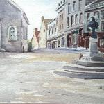 "J.R. Baldini_ "" King Louis XV , Old Quebec City ""_ 9 x 12 matted, unframed _ Watercolor 140 # Rough"