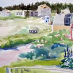 "J.R. Baldini_ "" The Pink House ""_ 14 x 20 matted, unframed _ Watercolor 140 # HP"