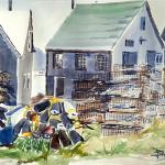 "J. R. Baldini __ ""Lobster Traps and Buoys"" 14 x 20 Watercolor 140#HP ___matted and framed to 20 x 24 __ Sold"
