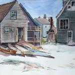 "J. R. Baldini __ "" Fish Houses "" ___ 14 x 20 watercolor #140 HP ___ #watercolorpainting #jrbaldiniartist"