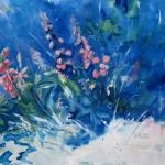 "J. R. Baldini  __ "" Blue Lupine "" __ 14 x 20 watercolor  __"