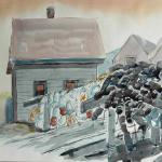 "J. R. Baldini  __ "" Monhegan Fishbeach""   __ 14 x 20 watercolor  __ not returned by a gallery - if you should see this piece somewhere, please let me know...thanks"