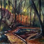 "J R Baldini  __ "" Root Glen ""   __ 14 x 20 watercolor __"