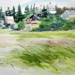 "J R Baldini  __ "" Martin House ""   __ 14 x 20 watercolor __"