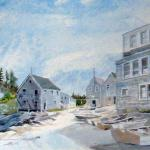 "J. R. Baldini ""Fish Beach looking back  towards Main St"" Watercolor 140#HP Sold"