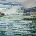 "J.R. Baldini_ "" Niagara First Autumn Color ""_ 14 x 20 piece  _ Watercolor 140# HP Framed and matted to 20 x 24 """